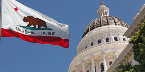 CA Flag and Capitol Dome Graphic