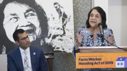 Dolores Huerta addresses gathering about AB 1783