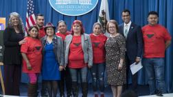 Group photo with Assemblymember Rivas, Dolor Huerta and Teresa Romero